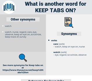 keep tabs on, synonym keep tabs on, another word for keep tabs on, words like keep tabs on, thesaurus keep tabs on
