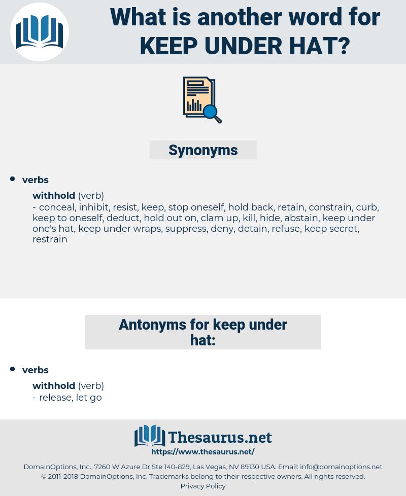 keep under hat, synonym keep under hat, another word for keep under hat, words like keep under hat, thesaurus keep under hat