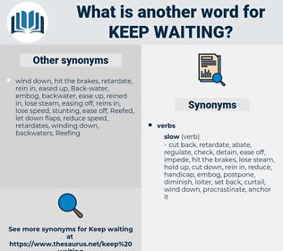 keep waiting, synonym keep waiting, another word for keep waiting, words like keep waiting, thesaurus keep waiting