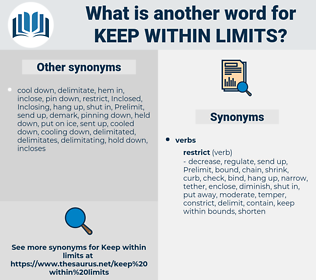 keep within limits, synonym keep within limits, another word for keep within limits, words like keep within limits, thesaurus keep within limits