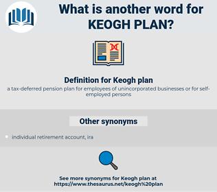 Keogh plan, synonym Keogh plan, another word for Keogh plan, words like Keogh plan, thesaurus Keogh plan