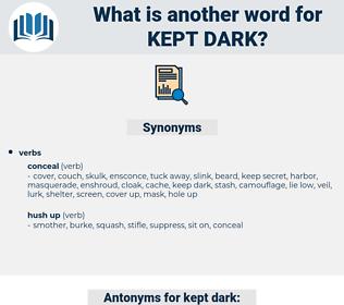 kept dark, synonym kept dark, another word for kept dark, words like kept dark, thesaurus kept dark