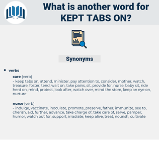 kept tabs on, synonym kept tabs on, another word for kept tabs on, words like kept tabs on, thesaurus kept tabs on