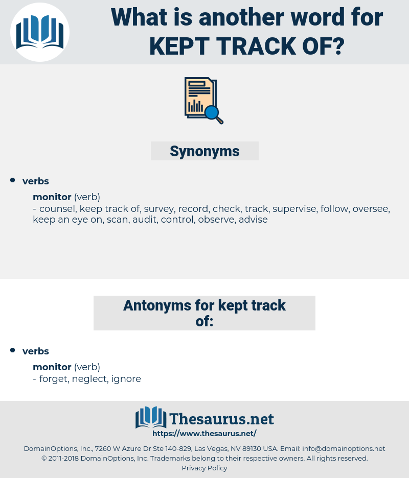 kept track of, synonym kept track of, another word for kept track of, words like kept track of, thesaurus kept track of