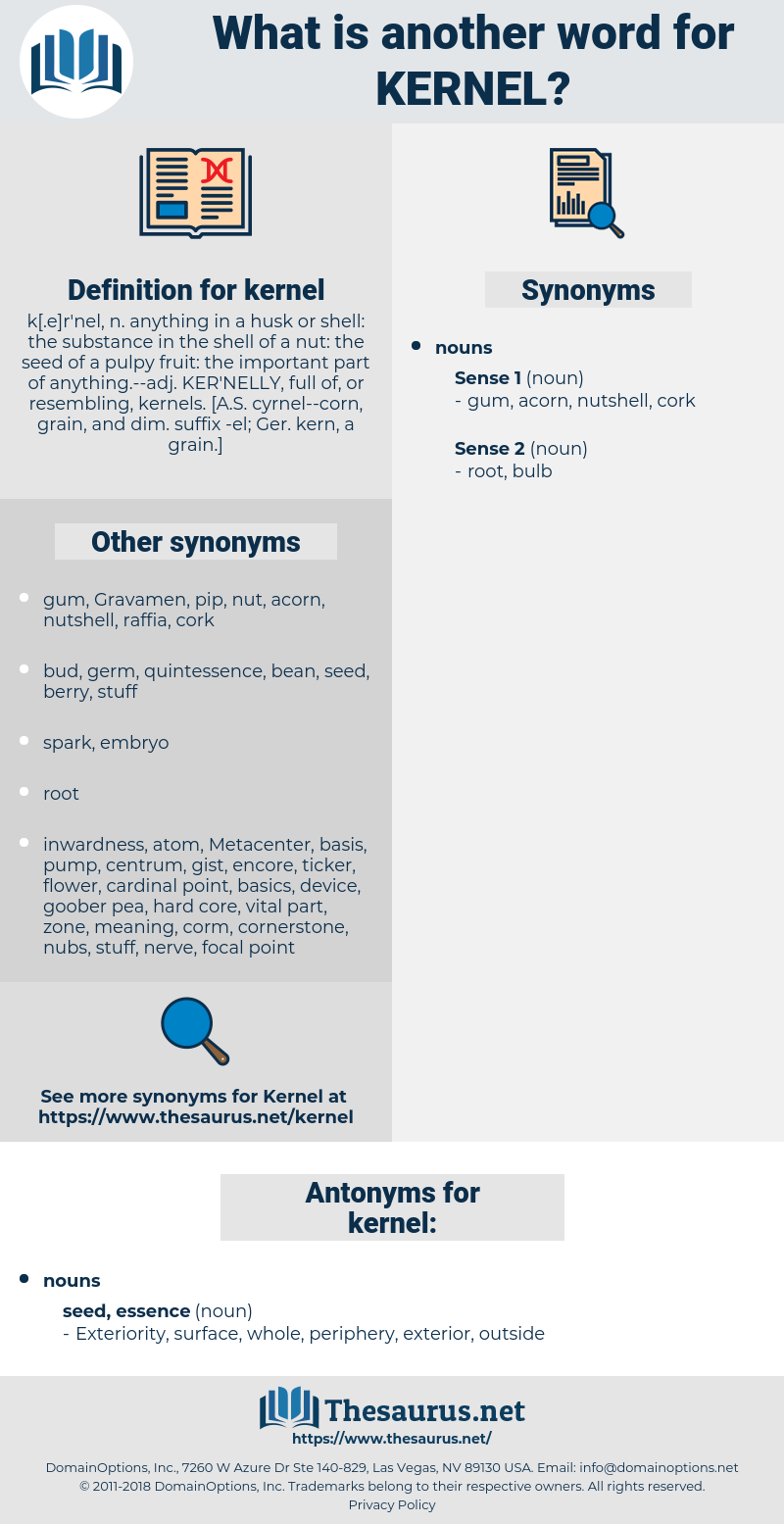 kernel, synonym kernel, another word for kernel, words like kernel, thesaurus kernel