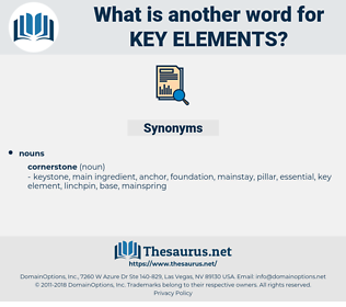 key elements, synonym key elements, another word for key elements, words like key elements, thesaurus key elements