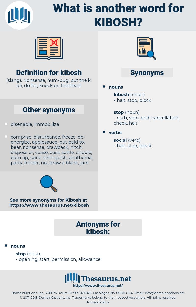 kibosh, synonym kibosh, another word for kibosh, words like kibosh, thesaurus kibosh