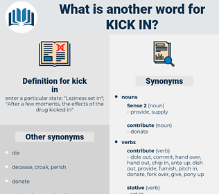 kick in, synonym kick in, another word for kick in, words like kick in, thesaurus kick in