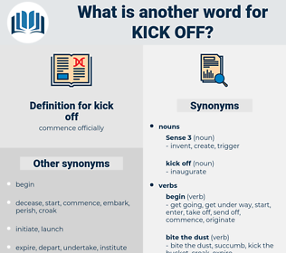 kick off, synonym kick off, another word for kick off, words like kick off, thesaurus kick off