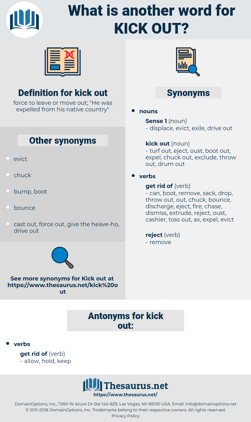 kick out, synonym kick out, another word for kick out, words like kick out, thesaurus kick out