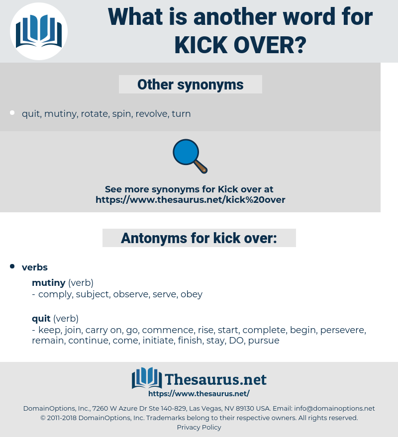kick over, synonym kick over, another word for kick over, words like kick over, thesaurus kick over