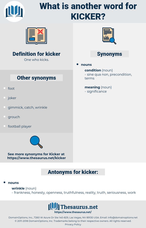 kicker, synonym kicker, another word for kicker, words like kicker, thesaurus kicker