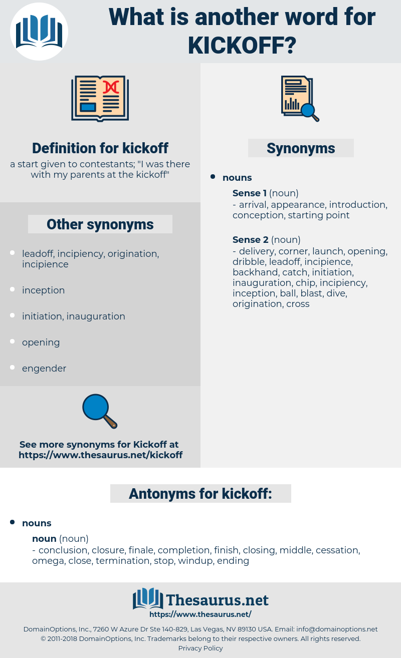 kickoff, synonym kickoff, another word for kickoff, words like kickoff, thesaurus kickoff