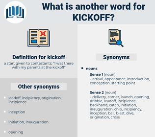 kickoff, synonym kickoff, another word for kickoff, words like kickoff, thesaurus kickoff