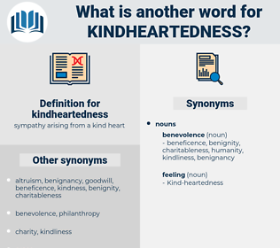 kindheartedness, synonym kindheartedness, another word for kindheartedness, words like kindheartedness, thesaurus kindheartedness
