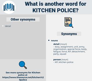 kitchen police, synonym kitchen police, another word for kitchen police, words like kitchen police, thesaurus kitchen police