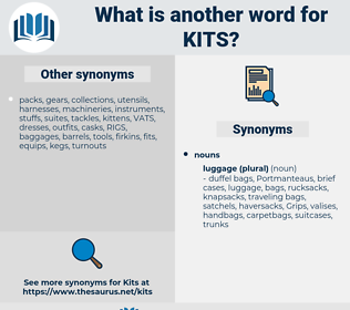 kits, synonym kits, another word for kits, words like kits, thesaurus kits