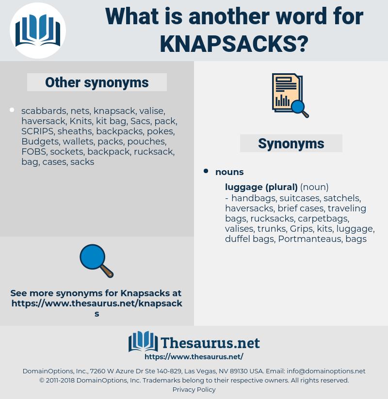 knapsacks, synonym knapsacks, another word for knapsacks, words like knapsacks, thesaurus knapsacks