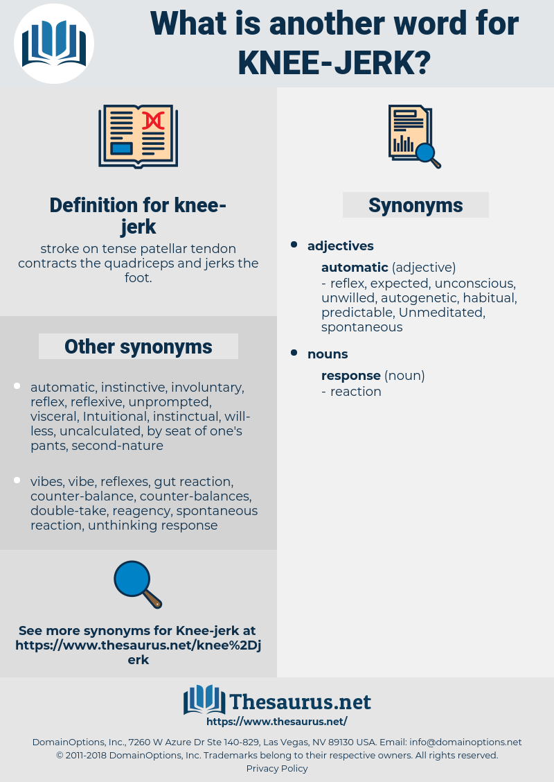 knee-jerk, synonym knee-jerk, another word for knee-jerk, words like knee-jerk, thesaurus knee-jerk