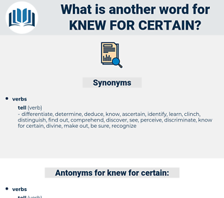 knew for certain, synonym knew for certain, another word for knew for certain, words like knew for certain, thesaurus knew for certain