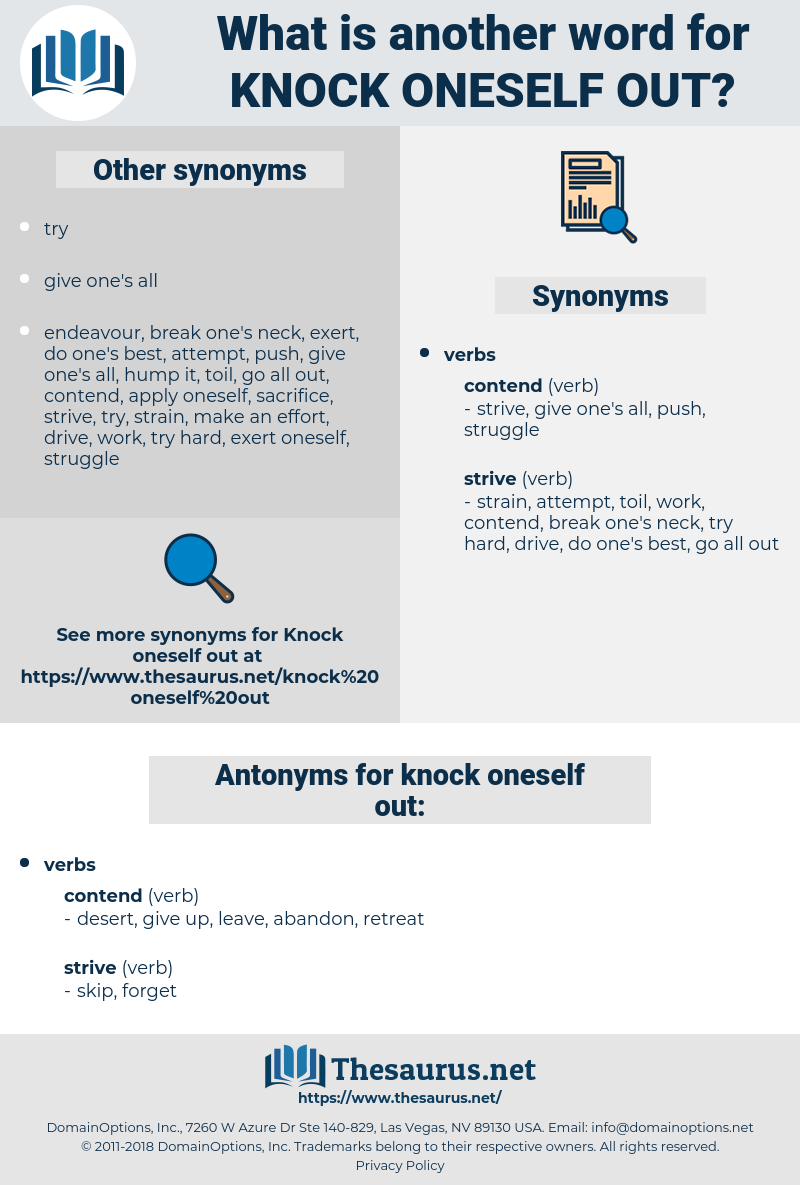 Synonyms For Knock Oneself Out Antonyms For Knock Oneself Out