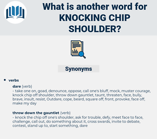 knocking chip shoulder, synonym knocking chip shoulder, another word for knocking chip shoulder, words like knocking chip shoulder, thesaurus knocking chip shoulder