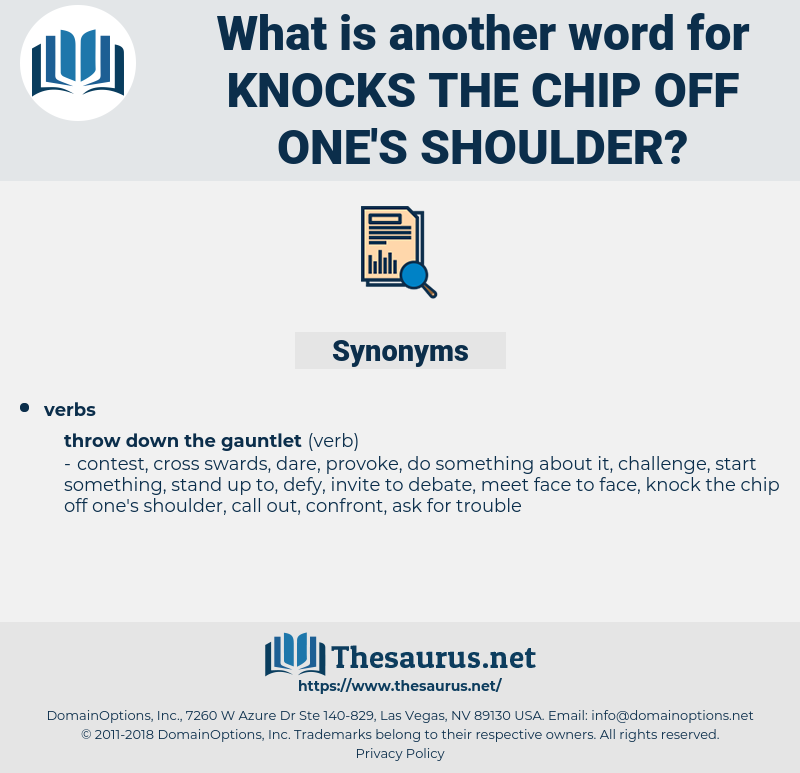knocks the chip off one's shoulder, synonym knocks the chip off one's shoulder, another word for knocks the chip off one's shoulder, words like knocks the chip off one's shoulder, thesaurus knocks the chip off one's shoulder