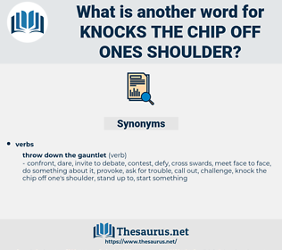 knocks the chip off ones shoulder, synonym knocks the chip off ones shoulder, another word for knocks the chip off ones shoulder, words like knocks the chip off ones shoulder, thesaurus knocks the chip off ones shoulder