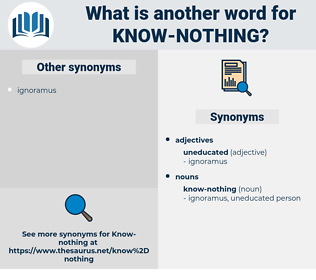 know-nothing, synonym know-nothing, another word for know-nothing, words like know-nothing, thesaurus know-nothing