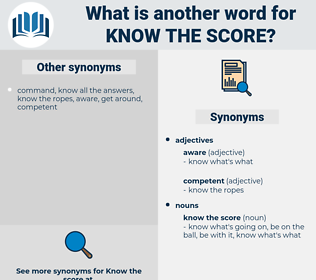 know the score, synonym know the score, another word for know the score, words like know the score, thesaurus know the score