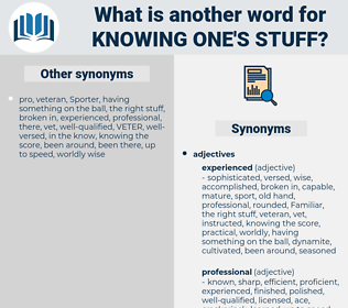 knowing one's stuff, synonym knowing one's stuff, another word for knowing one's stuff, words like knowing one's stuff, thesaurus knowing one's stuff