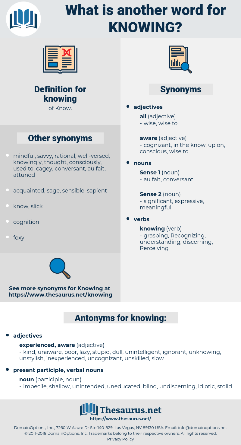 knowing, synonym knowing, another word for knowing, words like knowing, thesaurus knowing