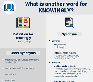 knowingly, synonym knowingly, another word for knowingly, words like knowingly, thesaurus knowingly