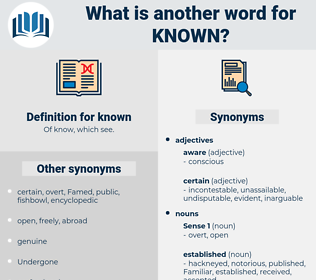 known, synonym known, another word for known, words like known, thesaurus known