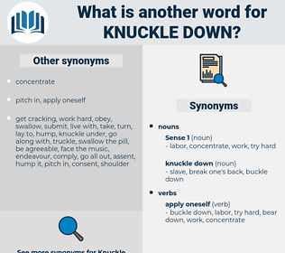knuckle down, synonym knuckle down, another word for knuckle down, words like knuckle down, thesaurus knuckle down
