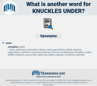 knuckles under, synonym knuckles under, another word for knuckles under, words like knuckles under, thesaurus knuckles under