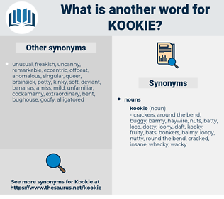 kookie, synonym kookie, another word for kookie, words like kookie, thesaurus kookie