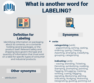 Labeling, synonym Labeling, another word for Labeling, words like Labeling, thesaurus Labeling