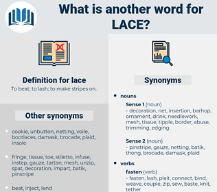 lace, synonym lace, another word for lace, words like lace, thesaurus lace