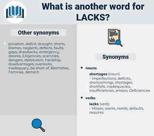 lacks, synonym lacks, another word for lacks, words like lacks, thesaurus lacks