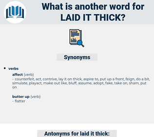 laid it thick, synonym laid it thick, another word for laid it thick, words like laid it thick, thesaurus laid it thick