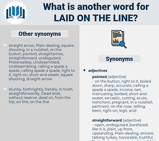 laid on the line, synonym laid on the line, another word for laid on the line, words like laid on the line, thesaurus laid on the line