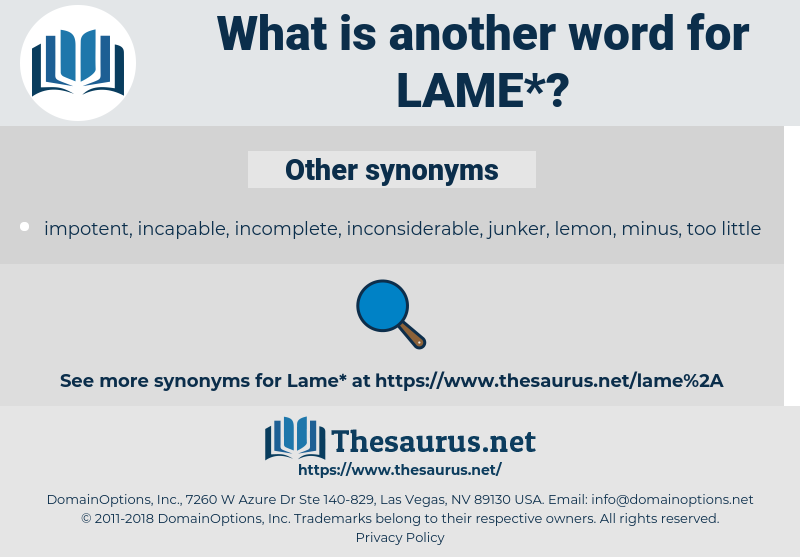 lame, synonym lame, another word for lame, words like lame, thesaurus lame