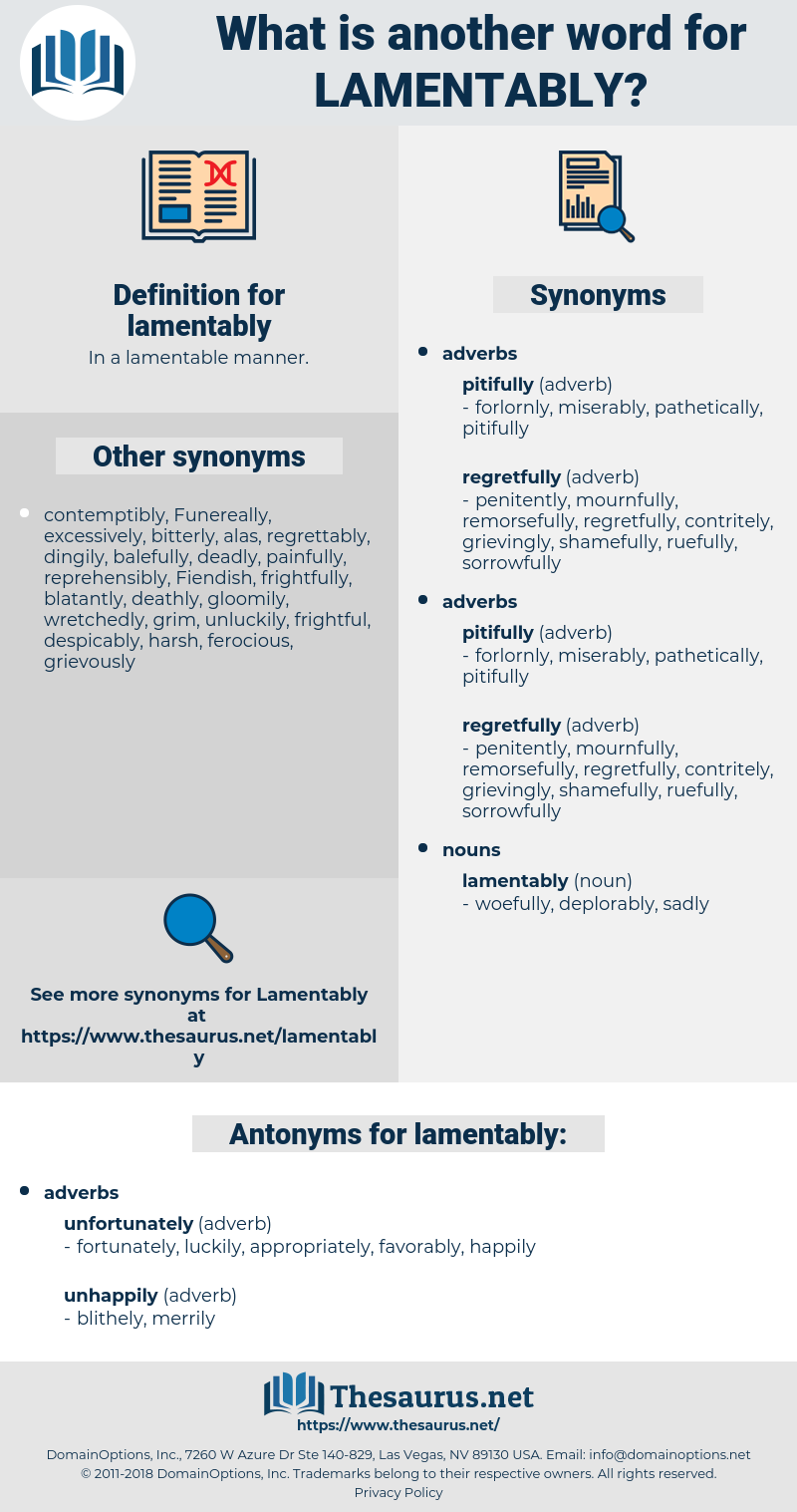 lamentably, synonym lamentably, another word for lamentably, words like lamentably, thesaurus lamentably