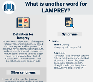 lamprey, synonym lamprey, another word for lamprey, words like lamprey, thesaurus lamprey