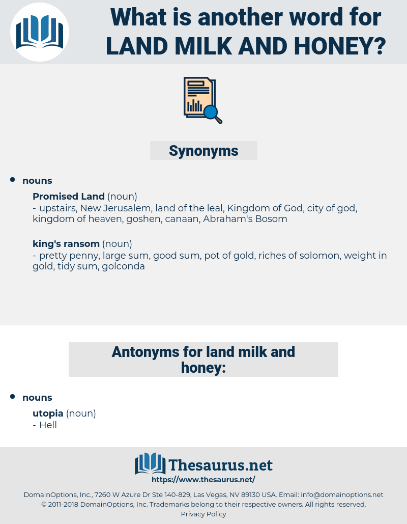 land milk and honey, synonym land milk and honey, another word for land milk and honey, words like land milk and honey, thesaurus land milk and honey