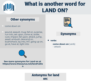 land on, synonym land on, another word for land on, words like land on, thesaurus land on