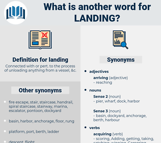 landing, synonym landing, another word for landing, words like landing, thesaurus landing