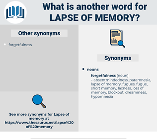 lapse of memory, synonym lapse of memory, another word for lapse of memory, words like lapse of memory, thesaurus lapse of memory