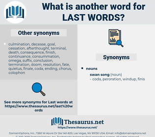 last words, synonym last words, another word for last words, words like last words, thesaurus last words